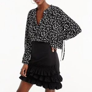 J.Crew Pintuck Black Blouse In Daisy Floral Size M